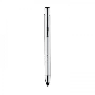 PETE Aluminiowy, przyciskany długopis srebrny