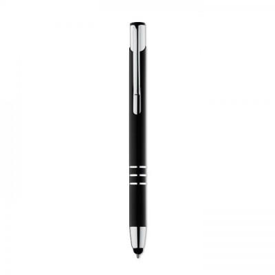 PETE Aluminiowy, przyciskany długopis czarny