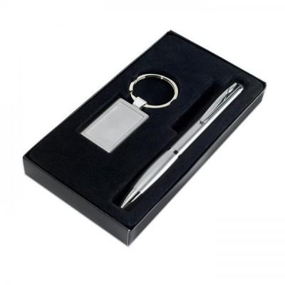 KELLY Plastikowy długopis i aluminiowy brelok w etui srebrny