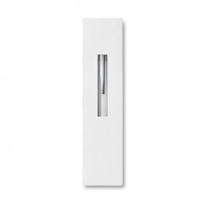 THEBOX Aluminiowy długopis na przycisk w kartonowym opakowaniu biały