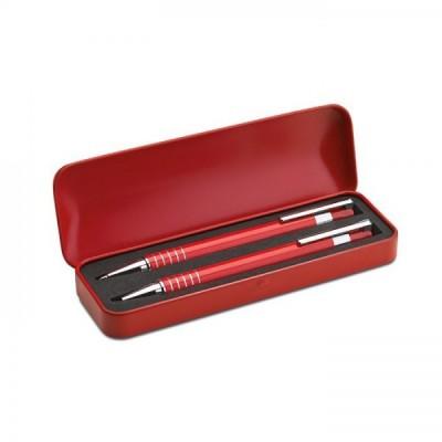 ALUCOLOR Aluminiowy zestaw długopis i mechaniczny ołówek w metalowym pudełku czerwony