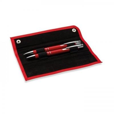 GEMELLO Zestaw piśmienniczy aluminiowy długopis i automatyczny ołówk w etui czerwony
