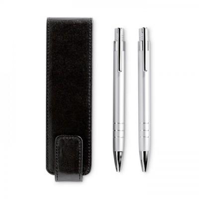 REPORTER Zestaw piśmienniczy aluminiowy długopis i automatyczny ołówk w etui srebrny