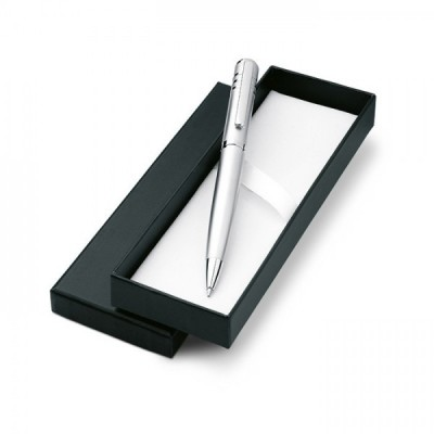 OLYMPIA Przekręcany, metalowy długopis w kartonowym ozdobnym pudełku srebrny