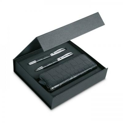 ANNECY Elegancki zestaw do pisania: przekręcany długopis i cienkopis. Imitacja skóry krokodyla