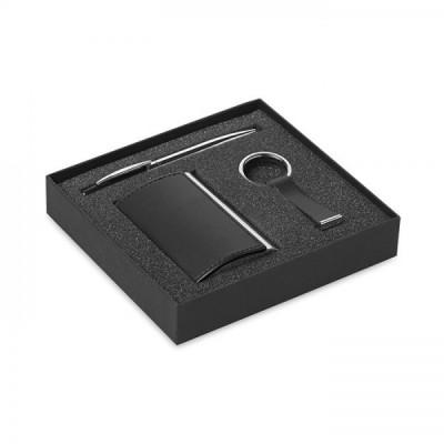 KADEAU Biznesowy zestaw upominkowy zawierający przekręcany długopis, brelok z PU oraz wizytownik. Całość w pudełku.