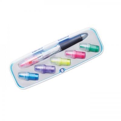 COMUTO 3-kolorowy przekręcany długopis z 6 wymiennymi kolorowymi zakreślaczami w skuwce.