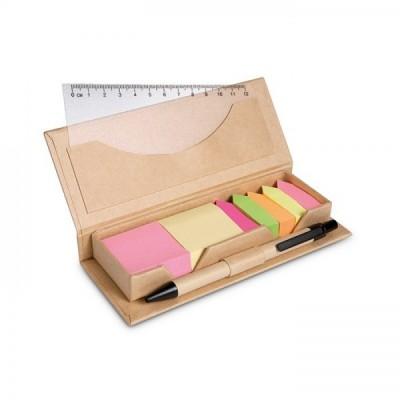 STIBOX Zestaw biurówy karteczki, długopis i linijka