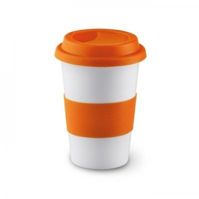 TRIBECA Ceramiczny kubek z silikonową opaską - pomarańczowy