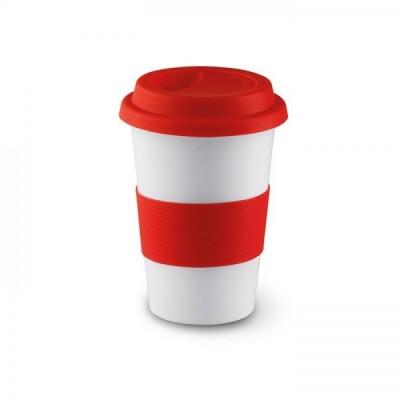 TRIBECA Ceramiczny kubek z silikonową opaską - czerwony