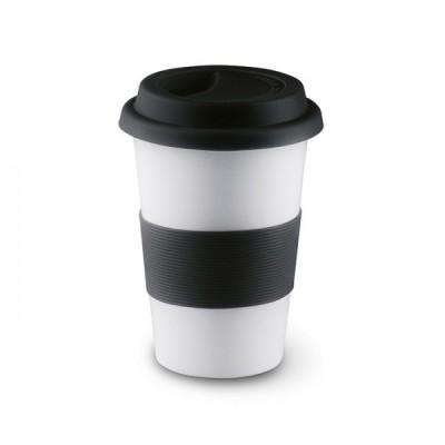 TRIBECA Ceramiczny kubek z silikonową opaską - czarny