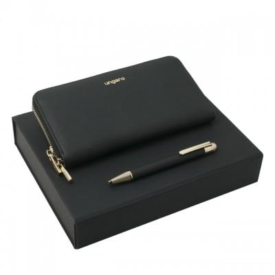 UNGARO Zestaw Portfel + długopis Aria Black ULL717A