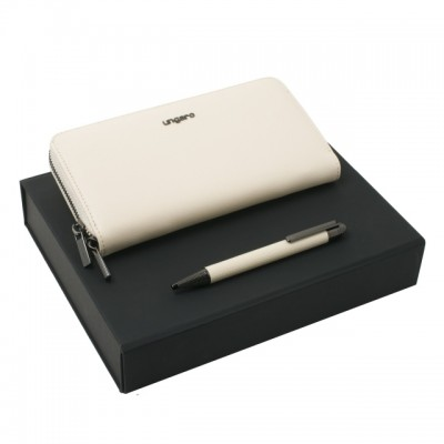 UNGARO Zestaw Portfel + długopis Aria OFF WHITE UPBL717G