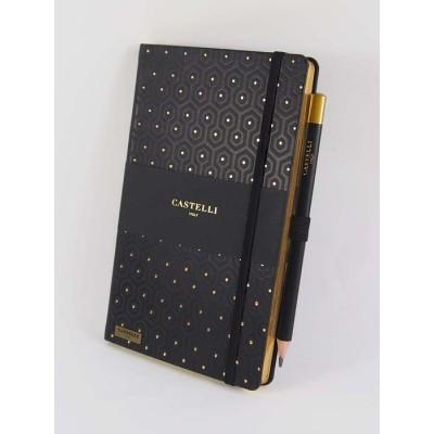 NOTES CASTELLI - KOLEKCJA PLASTER MIODU - BLACK & GOLD - (złote ranty notesu)