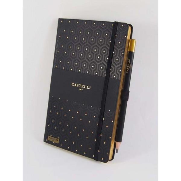 NOTES CASTELLI - KOLEKCJA PLASTER MIODU - GOLD - (czarne ranty bloku)