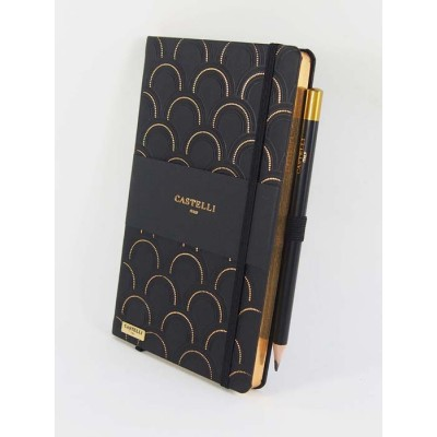 NOTES CASTELLI - KOLEKCJA ART DECO - BLACK & GOLD - (złote ranty notesu)