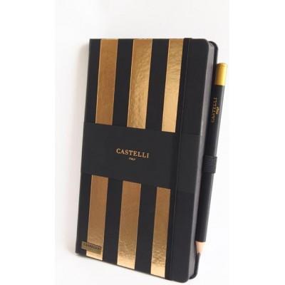 NOTES CASTELLI - KOLEKCJA STRIPES - BLACK - (złote ranty notesu)