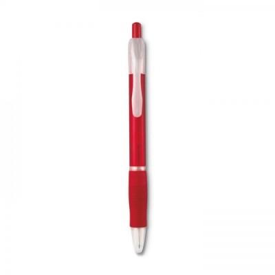 MANORS Długopis z gumą  przezroczysty czerwony
