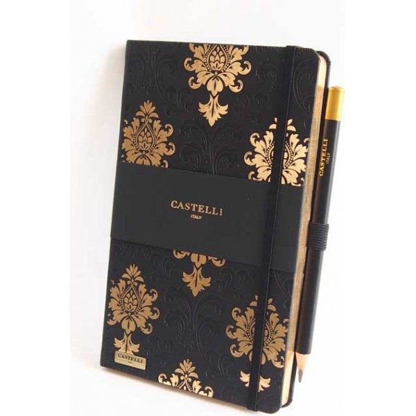 NOTES CASTELLI - KOLEKCJA BAROQUE - BLACK & GOLD - (złote ranty notesu)
