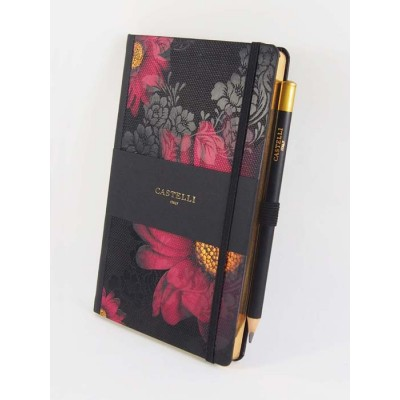 NOTES CASTELLI - KOLEKCJA - MIDNIGHT FLORAL - GERBERA - (złote ranty notesu)