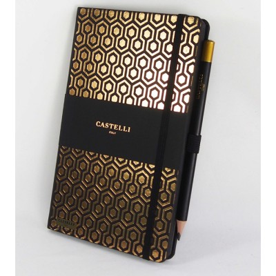 NOTES CASTELLI - KOLEKCJA PLASTER MIODU - BLACK - (złote ranty notesu)