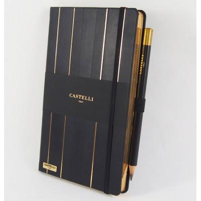 NOTES CASTELLI - KOLEKCJA STRIPES - GOLD - (czarne ranty bloku)