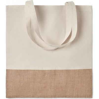 INDIA TOTE  Bawełniana torba na zakupy z elementami z juty