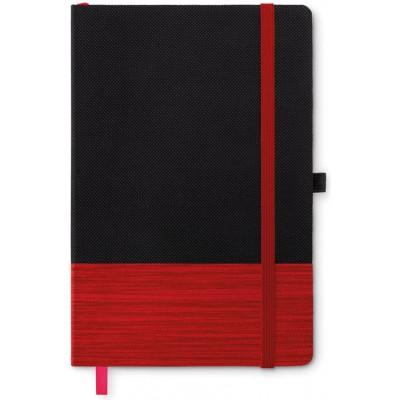 CONGO  Notatnik A5 z kolorowym elementem z włókniny (czerwony)