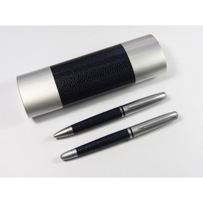 Zestaw piśmienniczy metalowy z wstawką z imitacji skóry